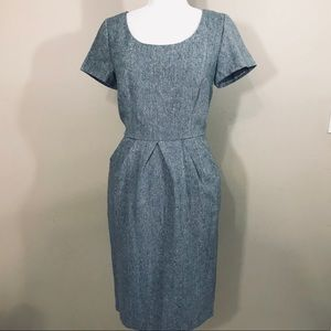 MODCLOTH TWEED BLUE DRESS LINED POCKETS EUC M